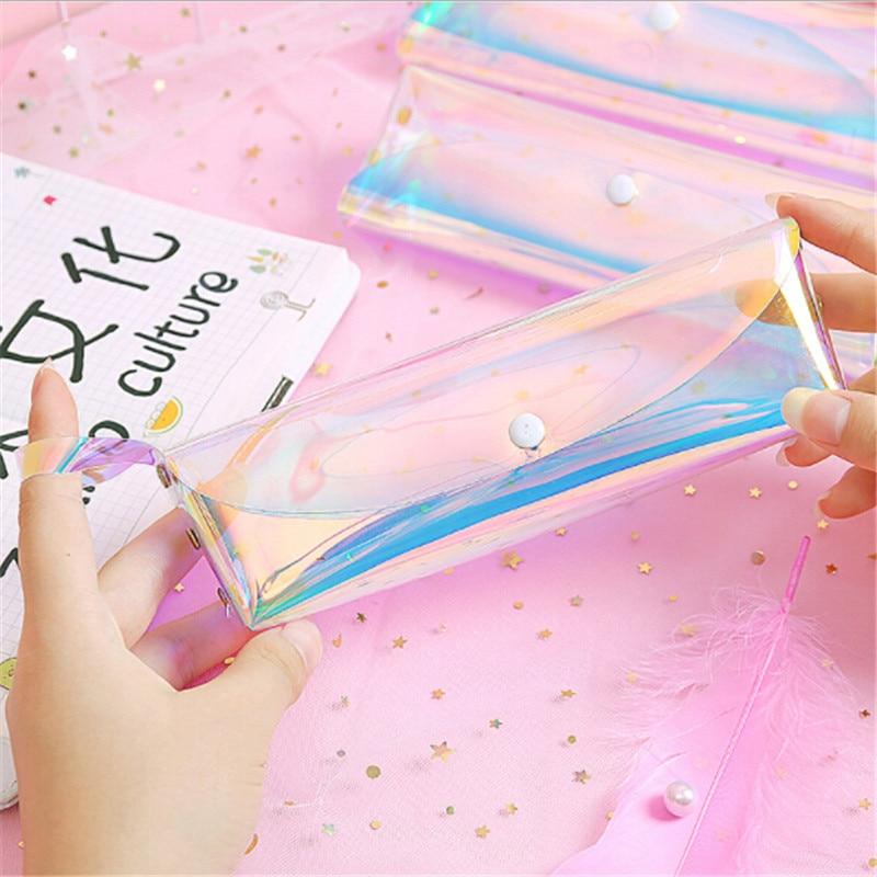 Bolsa de lápices láser transparente, bonita y creativa funda de maquillaje de viaje, bolsas para cepillo holográfico para mujeres, Mini bolsa de lápices para estudiantes