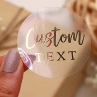 custom logo labels stickers personalized text business logo clear transparent gold foil rose gold silver customize wedding