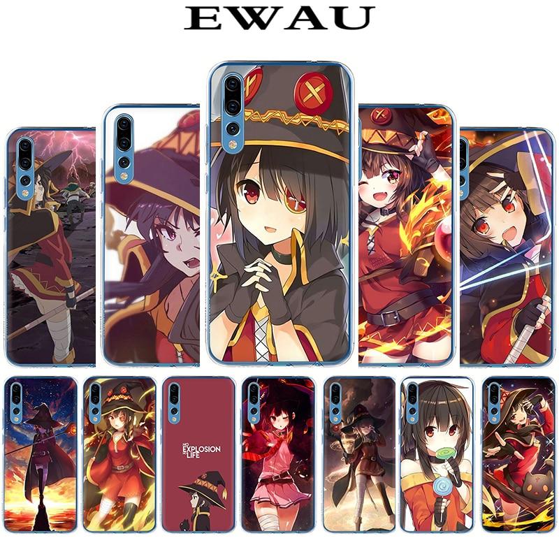 EWAU японский аниме Konosuba Megumin жесткий чехол для телефона для Huawei Honor 6a 6C 7A 7C 7X8 Lite C X 9 10 Lite Play