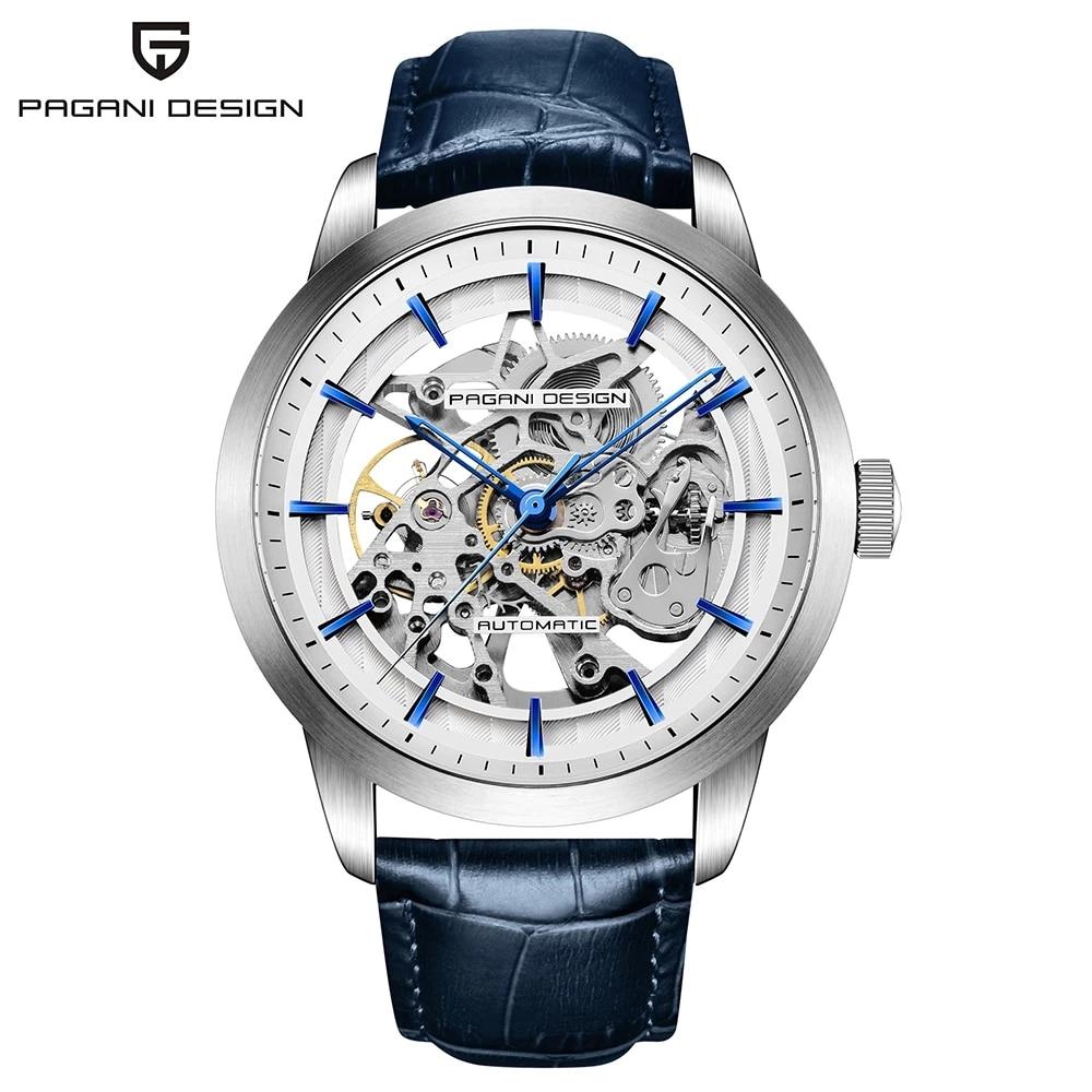 2020 PAGANI Design Fashion Leather Watch Men's Automatic Mechanical Skeleton Waterproof Watch 007 Chronograph Relogio Masculino