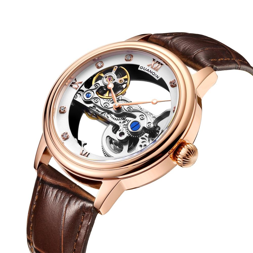 GUANQIN-ساعة ميكانيكية أوتوماتيكية للرجال ، GJ16137 ، ساعة يد مضيئة مقاومة للماء حتى 50 متر ، شحن سريع