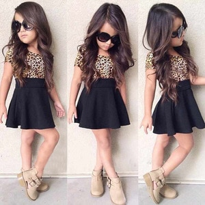 2-8 Years Spring Summer New Girls Dress Europe and America Explosion Models Leopard Dress Children's Clothing KF581