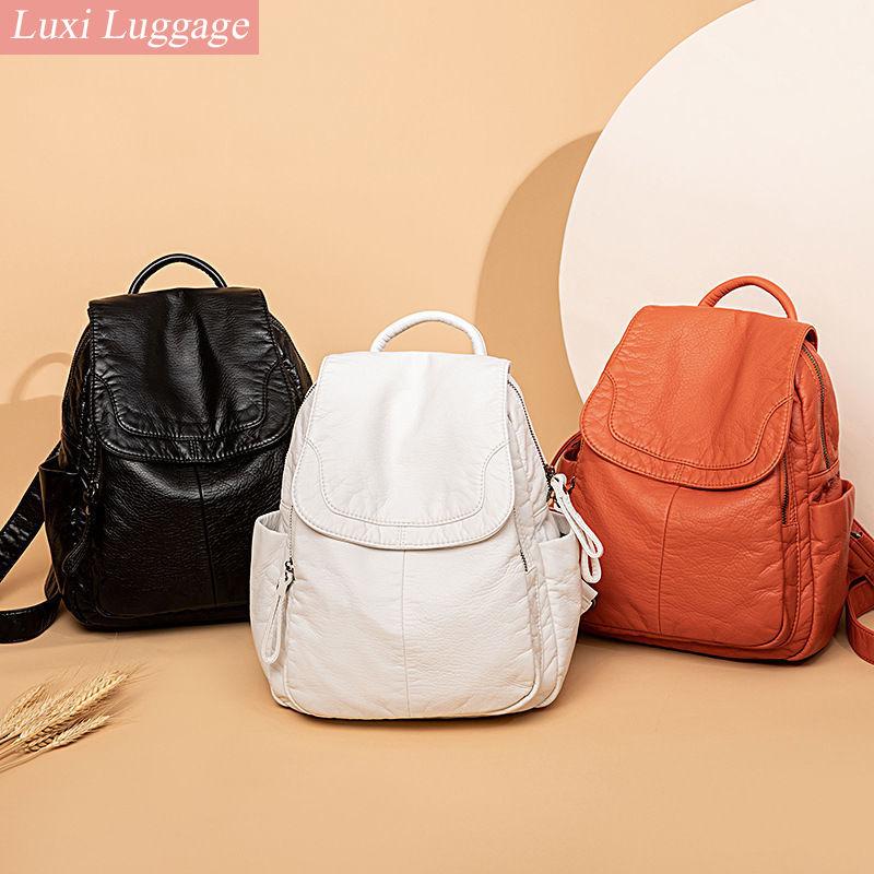مصمم أزياء النساء جلد طبيعي على ظهره الكتف حقائب للمراهقين السفر جلد الغنم الإناث حقيبة