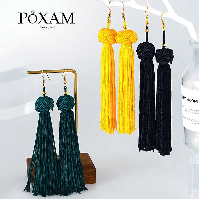 POXAM Fashion Ethnic Long Tassel Drop Earrings For Women Bohemian Yellow Red Black Silk Fabric Fringe Dangle Earing 2019 Jewelry
