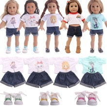 Doll Clothes Cute Animal Pattern Suit T-shirt + Short Jeans For 18 Inch American Doll Girls & 43 Cm