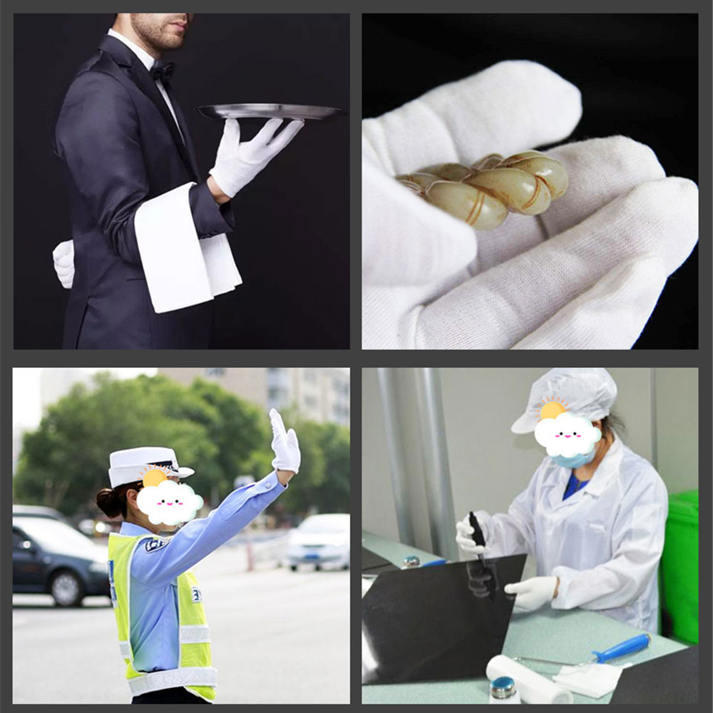 12Pairs White Gloves Cotton Soft Thin Coin Jewelry Silver Inspection Work Gloves enlarge