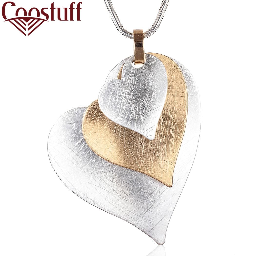 Collar largo con colgante de corazón de Color dorado y plateado a la moda para mujer, joyería Vintage para mujer, Decoración, regalo del Día de San Valentín, novedad de 2020