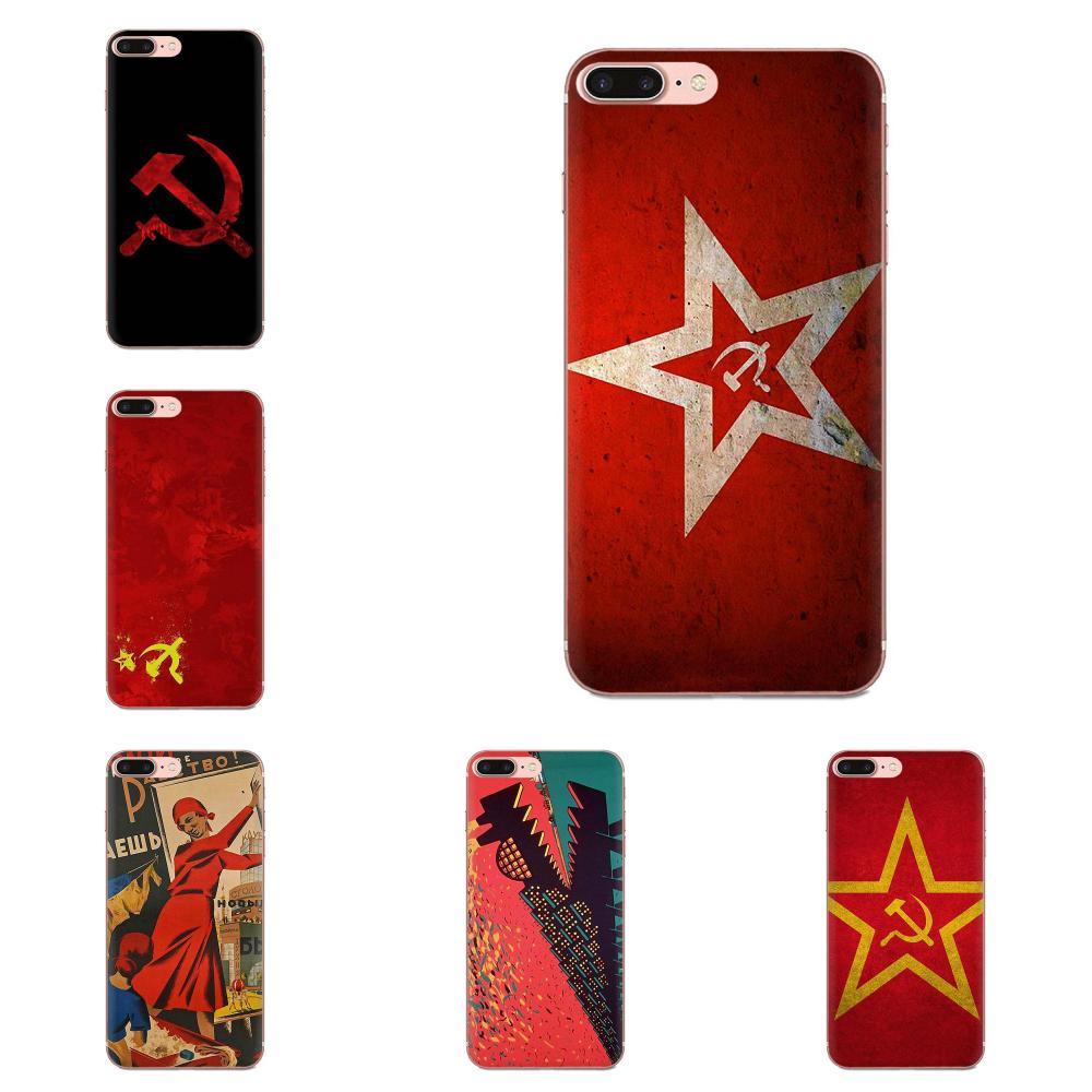 TPU caso de la Unión Soviética URSS bandera para Samsung Galaxy Note 5 8 9 S3 S4 S5 S6 S7 S8 S9 S10 5G mini Plus Lite