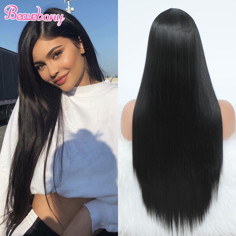 Beauebony Part Lace Wigs Synthetic Wigs For Black Women Long Black Wig Bone Straight Heat Resistant Synthetic Lace Wigs Cosplay