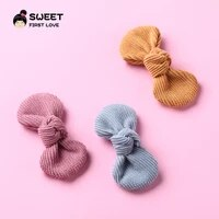 lovely bowknot hair accessories corduroy bow hairpins clips for girls mini solid customizde headwear kids head clips hair claws
