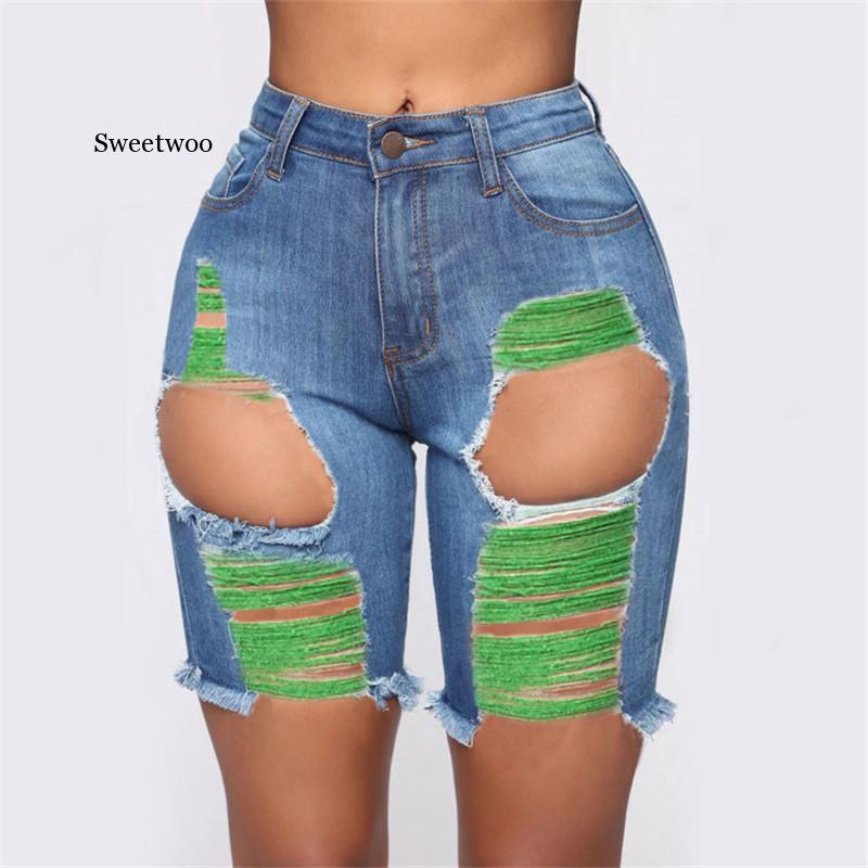 Горячая Распродажа, летние женские джинсовые шорты, модные рваные обтягивающие джинсовые шорты, сексуальные тонкие шорты, S-3XL