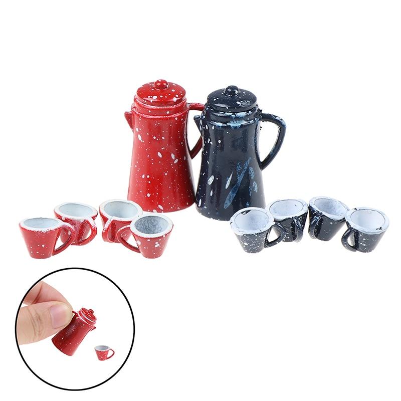 Juego de vajilla de juego de té de porcelana en miniatura para casa de muñecas 5 uds 1/12