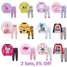 Kinder Casual Pyjamas Kleidung Set Jungen & Mädchen Cartoon Nachtwäsche Anzug Sets Kinder Langen ärmeln + Hose 2-stück Baumwolle Pyjamas Sets