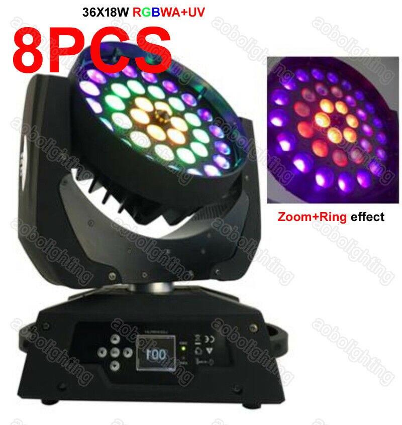 8PCS 36x18W 6in1 RGBWA UV LED moving head Waschen Zoom + Ring wirkung Zeigen Beleuchtung DJ bühne beleuchtung disco ball moving head