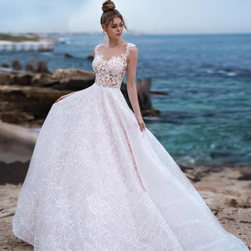 Review Lace wedding dress v-neck sleeveless retro wedding gown beautiful 3d flower embroidery applique buttons custom made