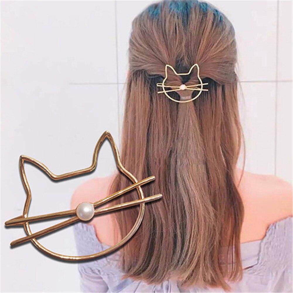 Pasador de pelo de gato ahuecado moda Linda horquilla de perlas de imitación Clip lateral Barrette accesorios de modelado auxiliar para regalos de mujer