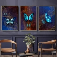 abstract dark starry sky golden net blue butterfly wall art canvas painting poster and print picture for living room home decora
