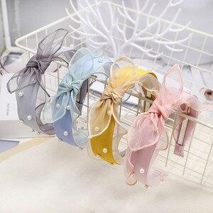 Headband Hairband For Women Girl Organza Lace Bow Knot Pearl Fresh Sweet Korean Fashion Hair Accessories Wholesale