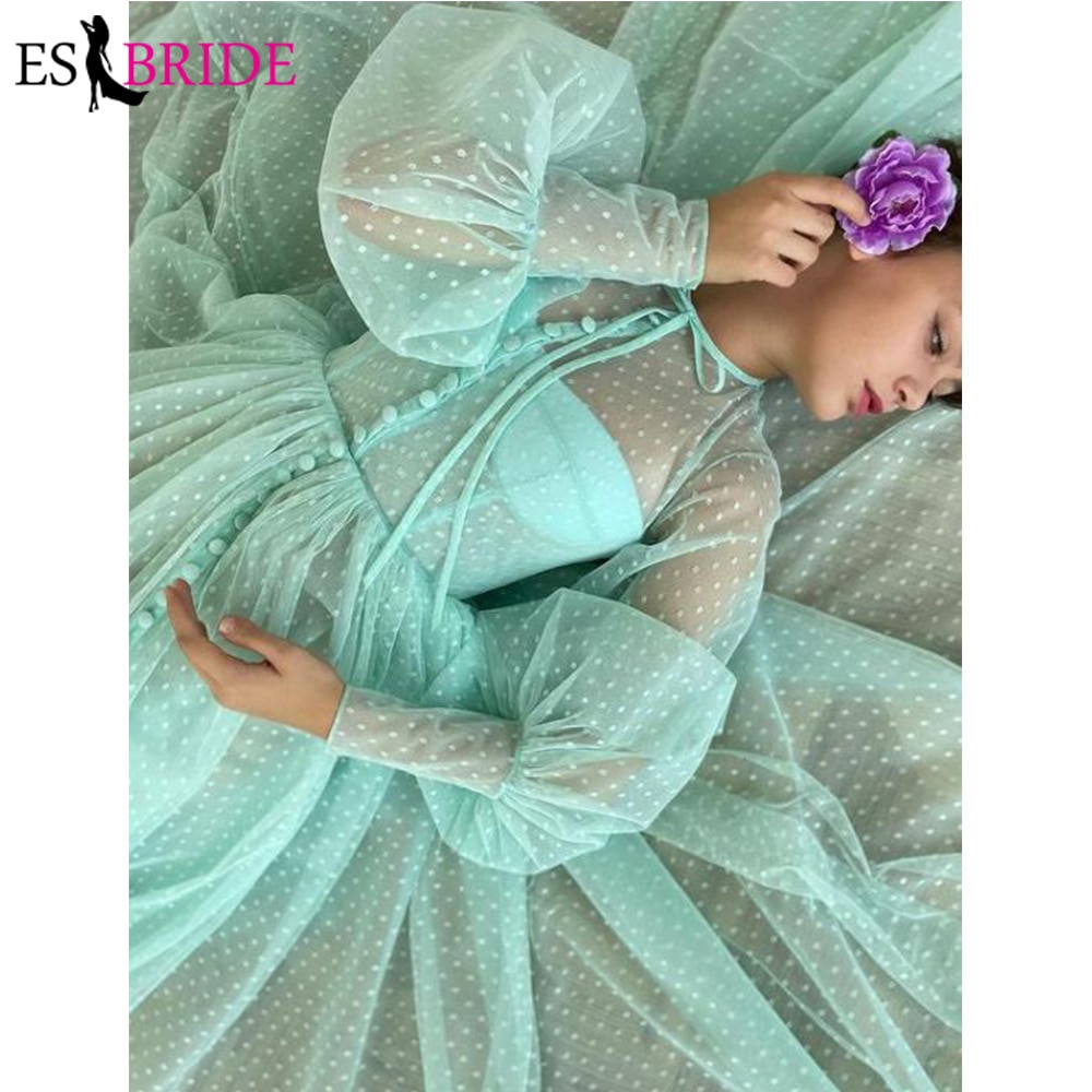 Turquoise Green Dotted Tulle Tea Length Prom Dresses With Buttoned Top Illusion O-Neck Long Puff Sleeves Homecoming Party Dress