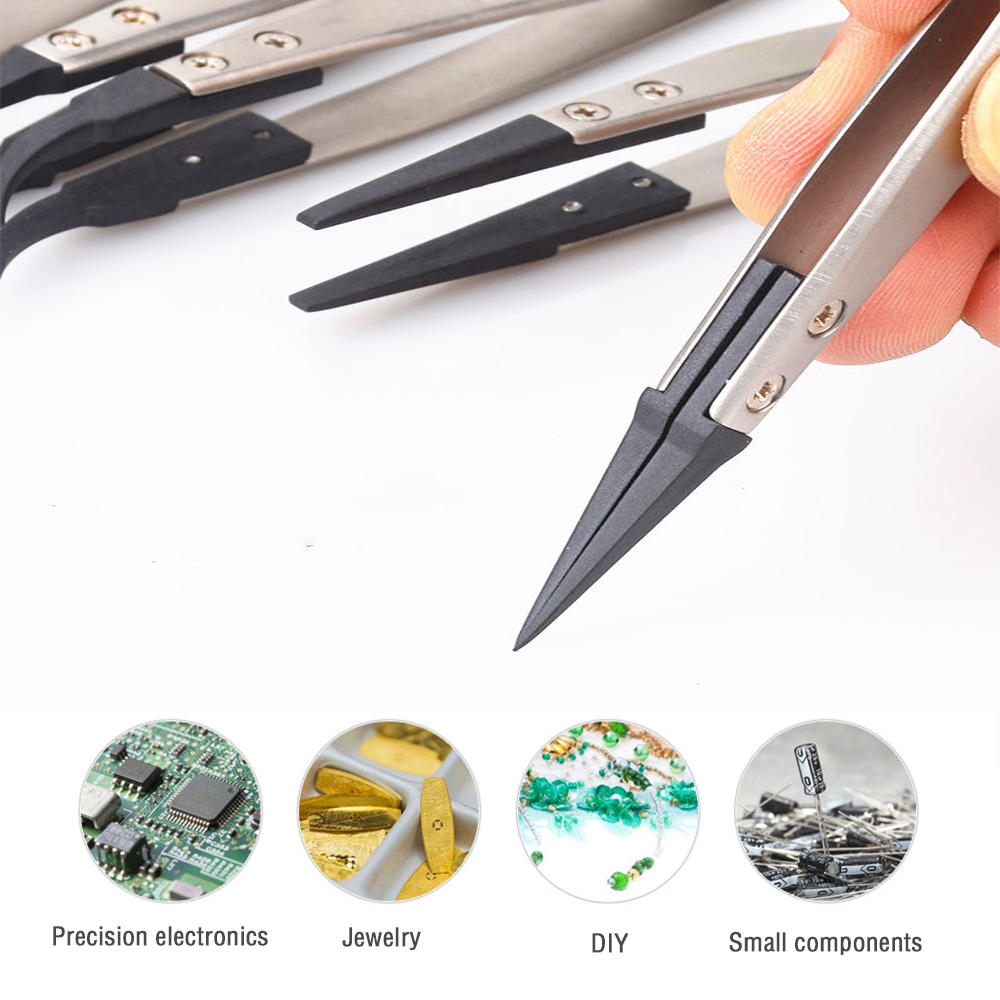 1pcs High Quality ESD Anti-Static Tweezers With Replaceable Tips Full Stainless Steel Body Carbon Fiber Conductive Plastic