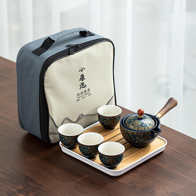 طقم شاي جونغفو صيني من البورسلين مجموعة براريد للشاي المحمولة مع 360 دوران ماكينة إعداد الشاي وانفوسر محمولة الكل في واحد شنطة هدايا