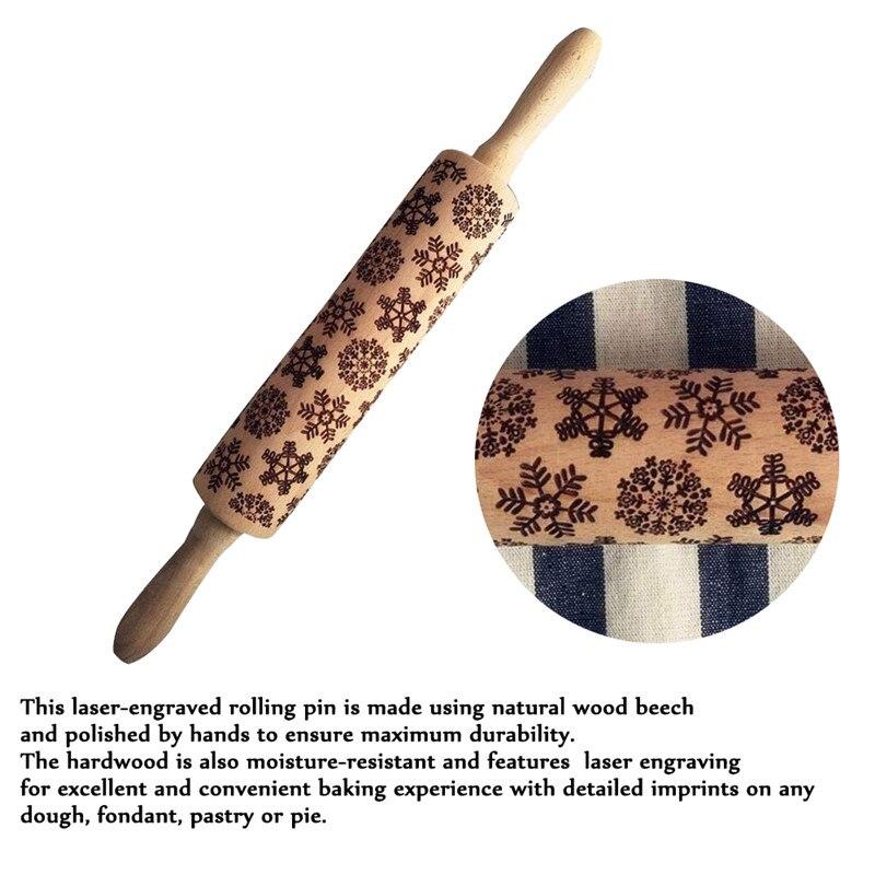 Reno, copo de nieve patrón grabado navideño rodillo hornear galletas fideos, galleta Fondant pastel pasta rodillo grabado
