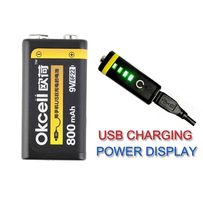 100% original okcell 9 v bateria recarregável 800 mah usb portátil micro baterias usb para rc helicóptero modelo microfone bateria