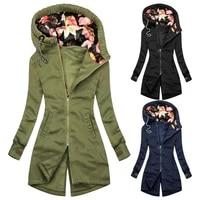 2021autumnwinter jacket women hooded coat floral print patchwork drawstring zipper irregular mid length bottom sweatshirt casual