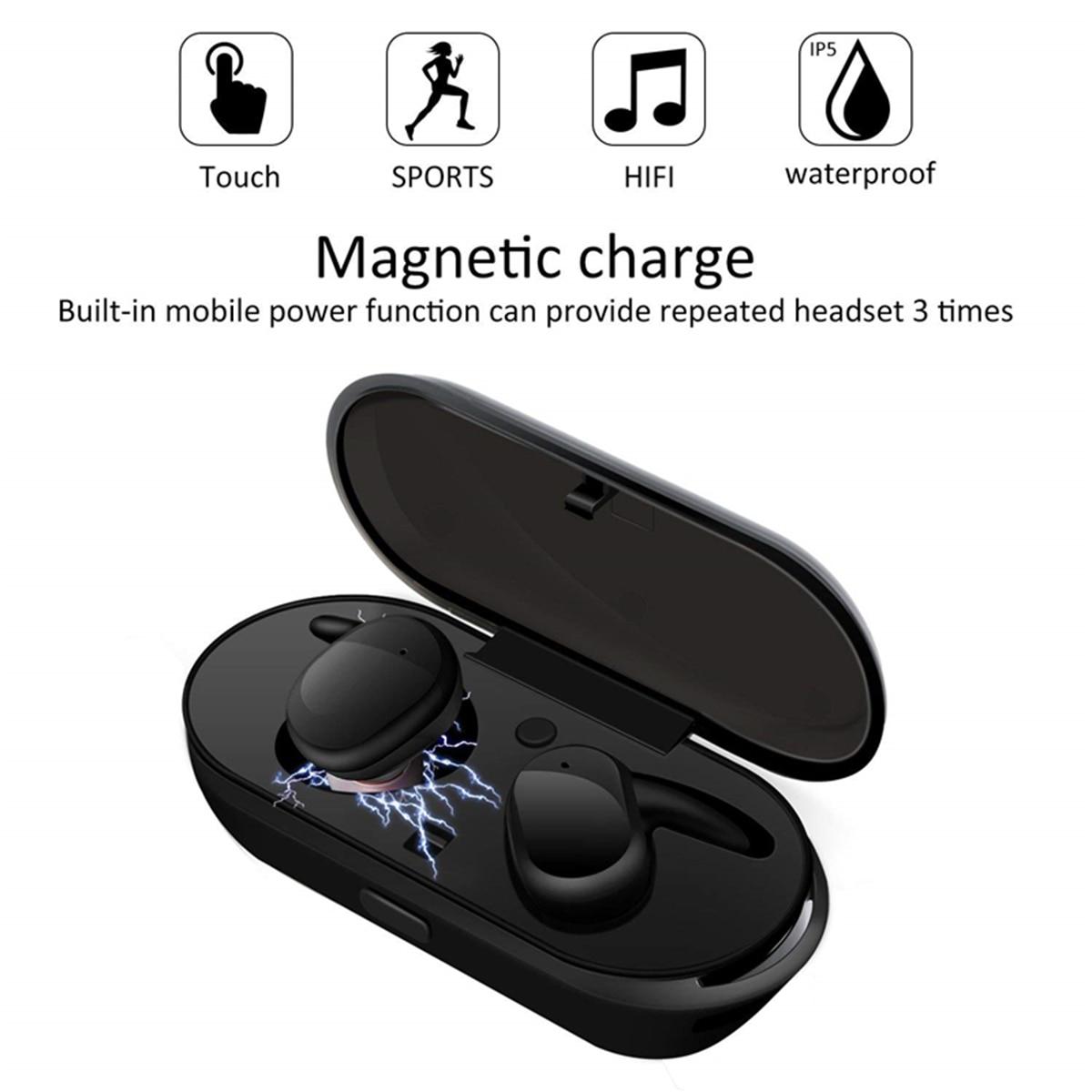 Tws bt5.0 fones de ouvido duplo controle de toque in-ear sem fio mini esportes à prova dhifi água alta fidelidade fones de ouvido com 450 mah caixa de carregamento