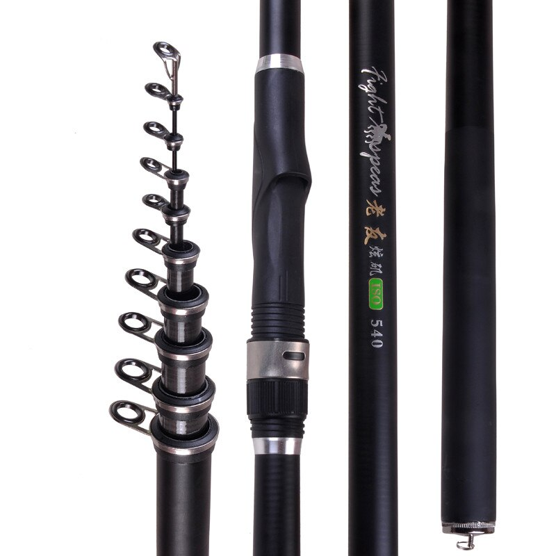 2021 Carbon Black Sea Rod Fishing Pole Carbon Fiber Telescopic Fishing Rod 2.4m 3.0m 3.6m 4.5m 5.4m 6.3m 7.2m Rock Fishing Rod enlarge