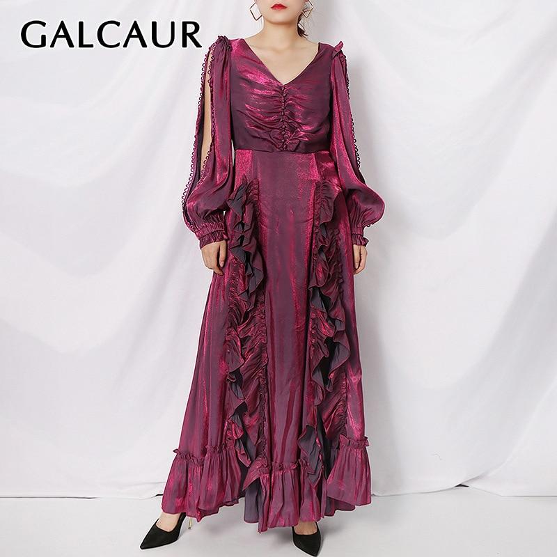GALCAUR-فستان أرجواني نسائي ، ياقة على شكل V ، فانوس ، أكمام طويلة ، خصر مرتفع ، شق جانبي ، انتفاضات ، مجمعة ، أنيقة ، ملابس نسائية ، 2021
