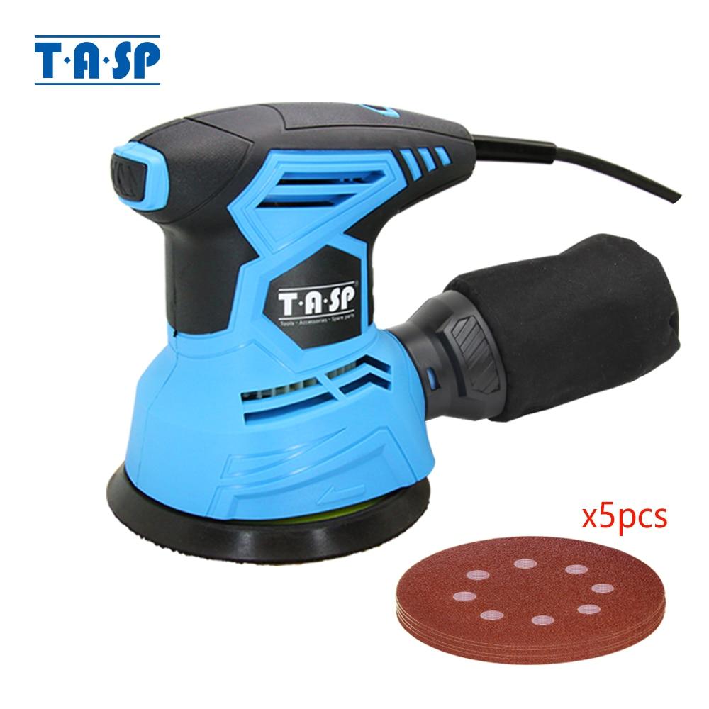 TASP 300W Random Orbital Electric Sander Machine Variable Speed Sanding Tools with Hybrid Dust Canister & 5pcs 125mm Sandpapers