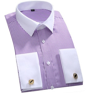 M~6XL Men's Classic Striped French Cuff Dress Shirt Single Placket Formal Business Standard-fit Long Sleeve Office Work Shirts