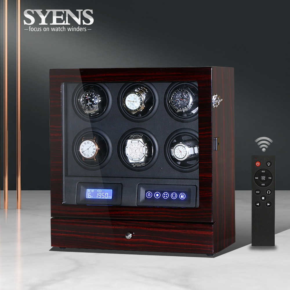 Rotating watch box 6 slot Watch winder Automatic watches with drawer storage Mechanical winders Wood Ebony with Black PU insert
