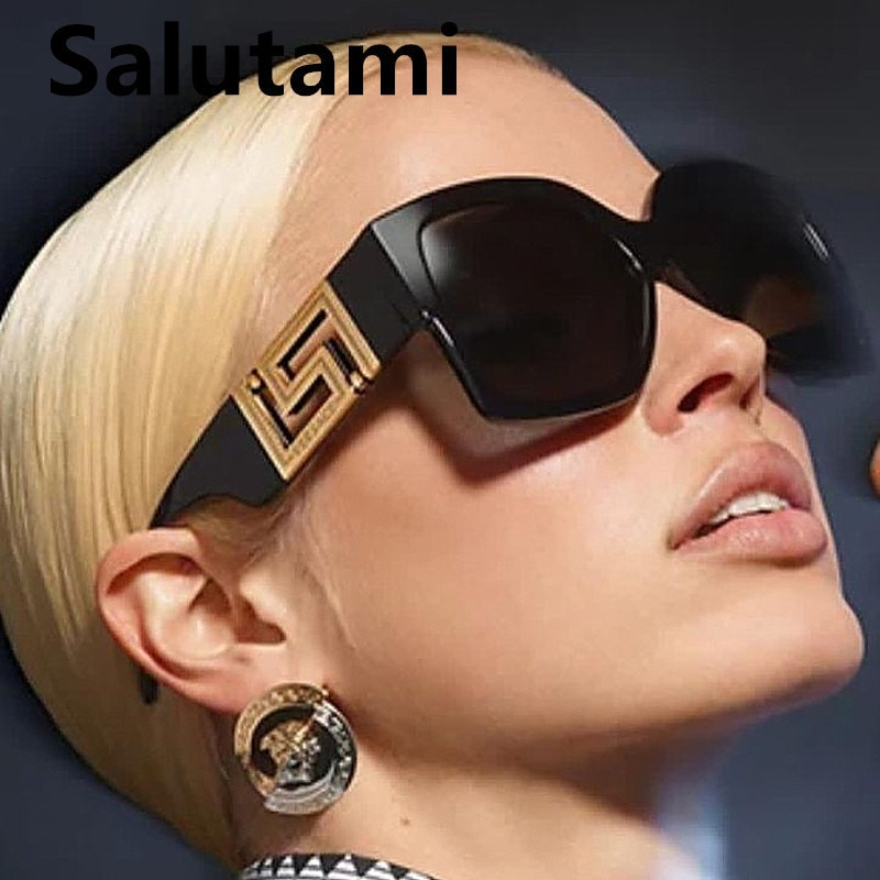 AliExpress - Vintage Oversized Black Leopard Square Sunglasses For Women Luxury Brand Graidient Sun Glasses Female Elegant Big Shades 2021