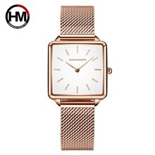 Fashion Ladies Watch Stainless Steel Square Dial Strap Quartz Watch Rose Gold Leather Bracelet Relogio Feminino Watch Women
