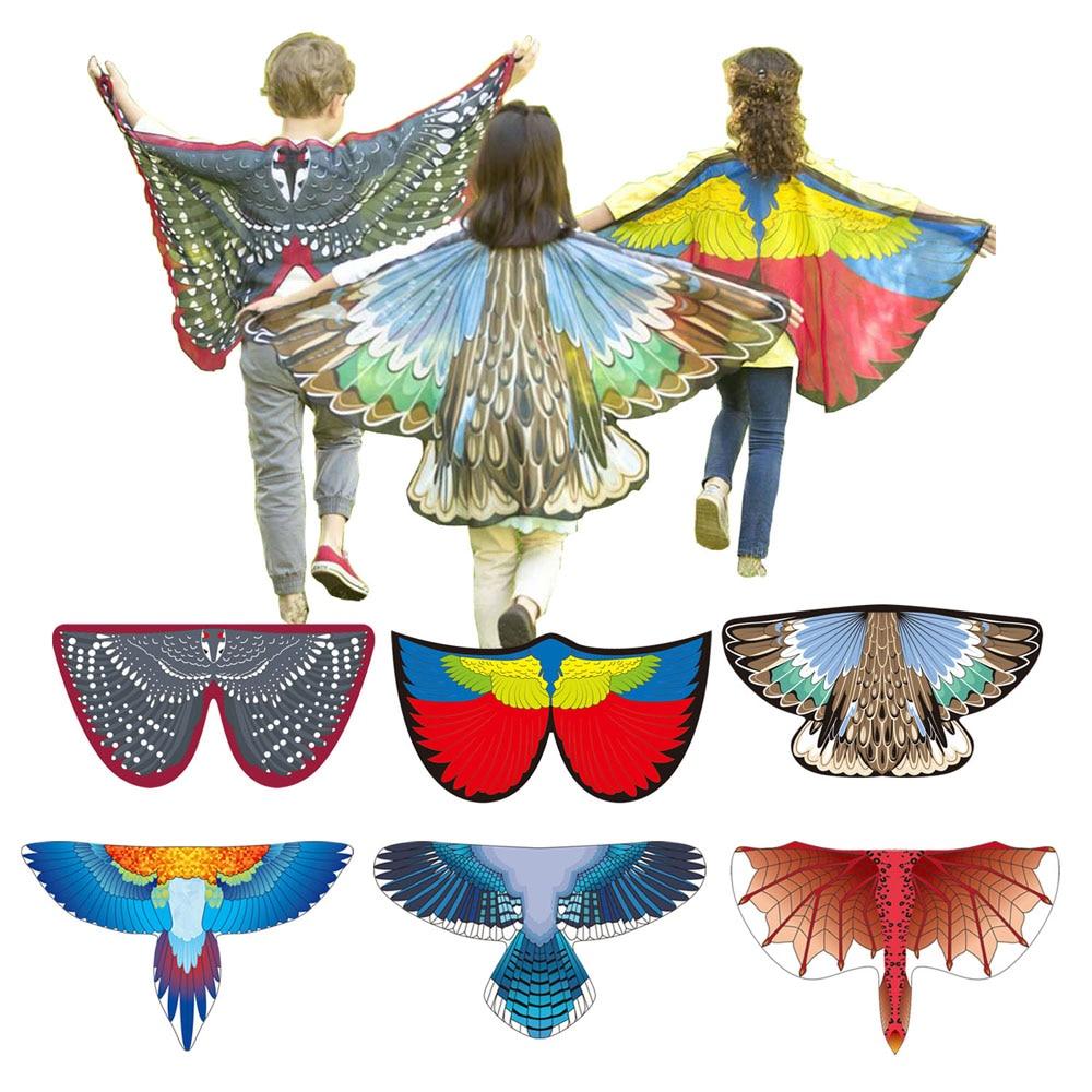 Pássaro trajes asas de borboleta dragão carnaval traje azul jay escarlate araw magpie asas meninos e meninas traje de halloween