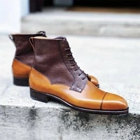 new men fashion trend dress shoes handmade high end tan pu stitching brown three section lace up versatile ankle boots hl826