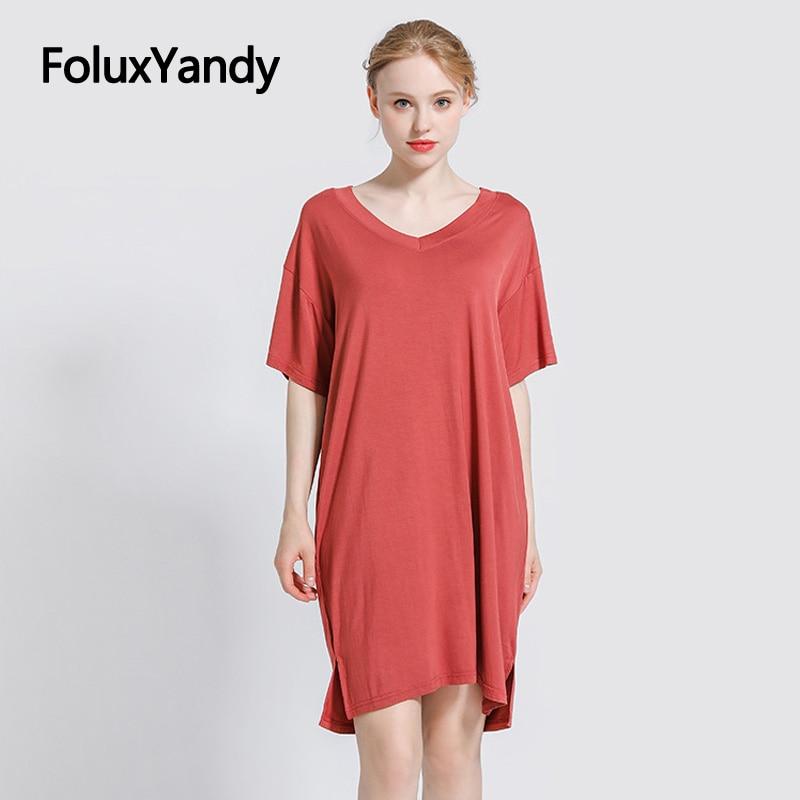 V-neck Modal Dress Women Vestidos Casual Solid Loose Plus Size Short Sleeve Summer 5 Colors YHH04