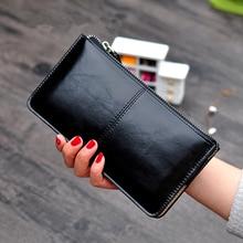 Women's Vintage Oil Wax Leather Zipper Clutch Wallet Female Large Capacity Coin Purse Ladies Wristba
