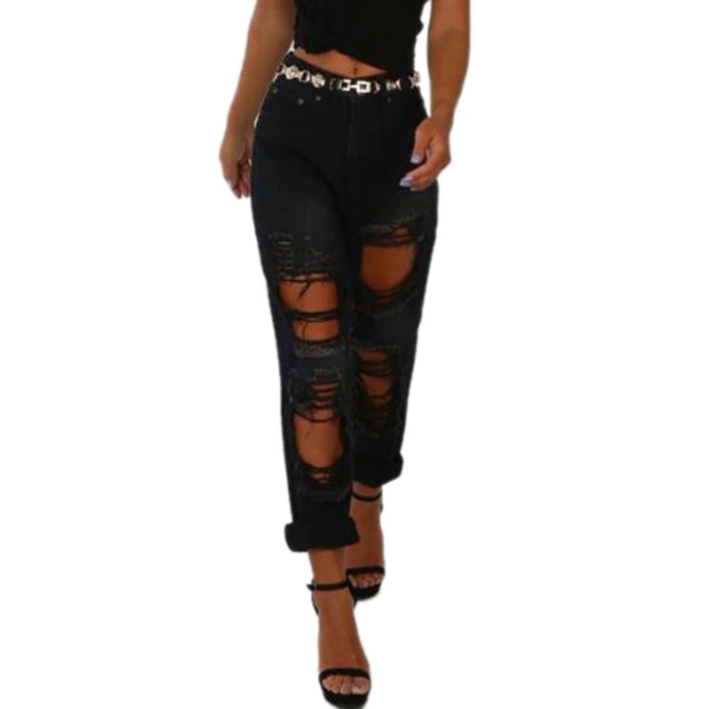 Fashion Ripped Jean Pants Womens Hole Destroy Sexy Pants Streetwear Women Solid Black Lomg Pants For Women Pontalon Femme #3