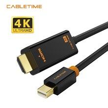 Cabletime Mini Displayport 1,2 DP ZUM HDMI Kabel Thunderbolt zu HDMI Kabel Adapter 4K * 2K HDMI DisplayPort kabel 1080P für TV N043
