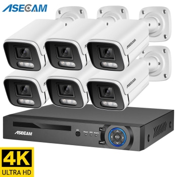 New 4K Ultra HD 8MP H.265 POE NVR Security System Kit Outdoor Waterproof CCTV IP Camera Audio Video Record Set