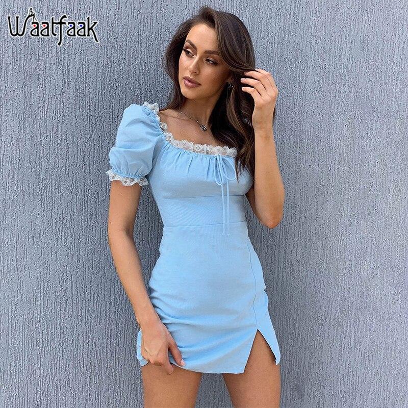 Waatfaak Office Summer Dress Casual Bow Bandage Square Lace Short Blue Dress Women Vintage Elegant Aline Dresses High Waist 2020
