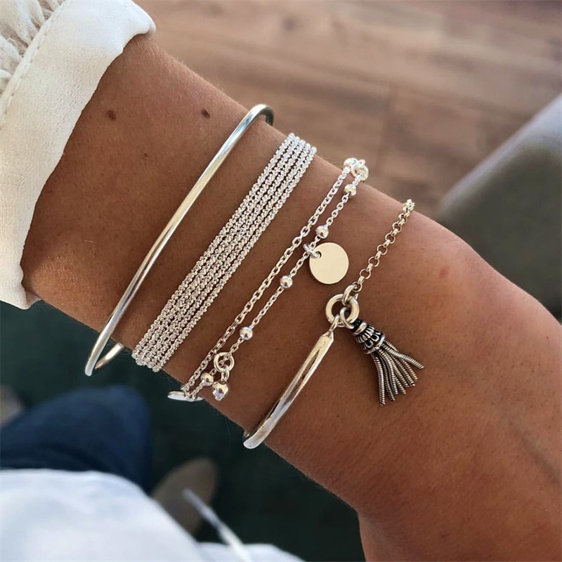 NEW Set Bohemian Silver Color Tassel Round Bracelet for Women Multilayer Pendant 2020 Fashion Jewelry