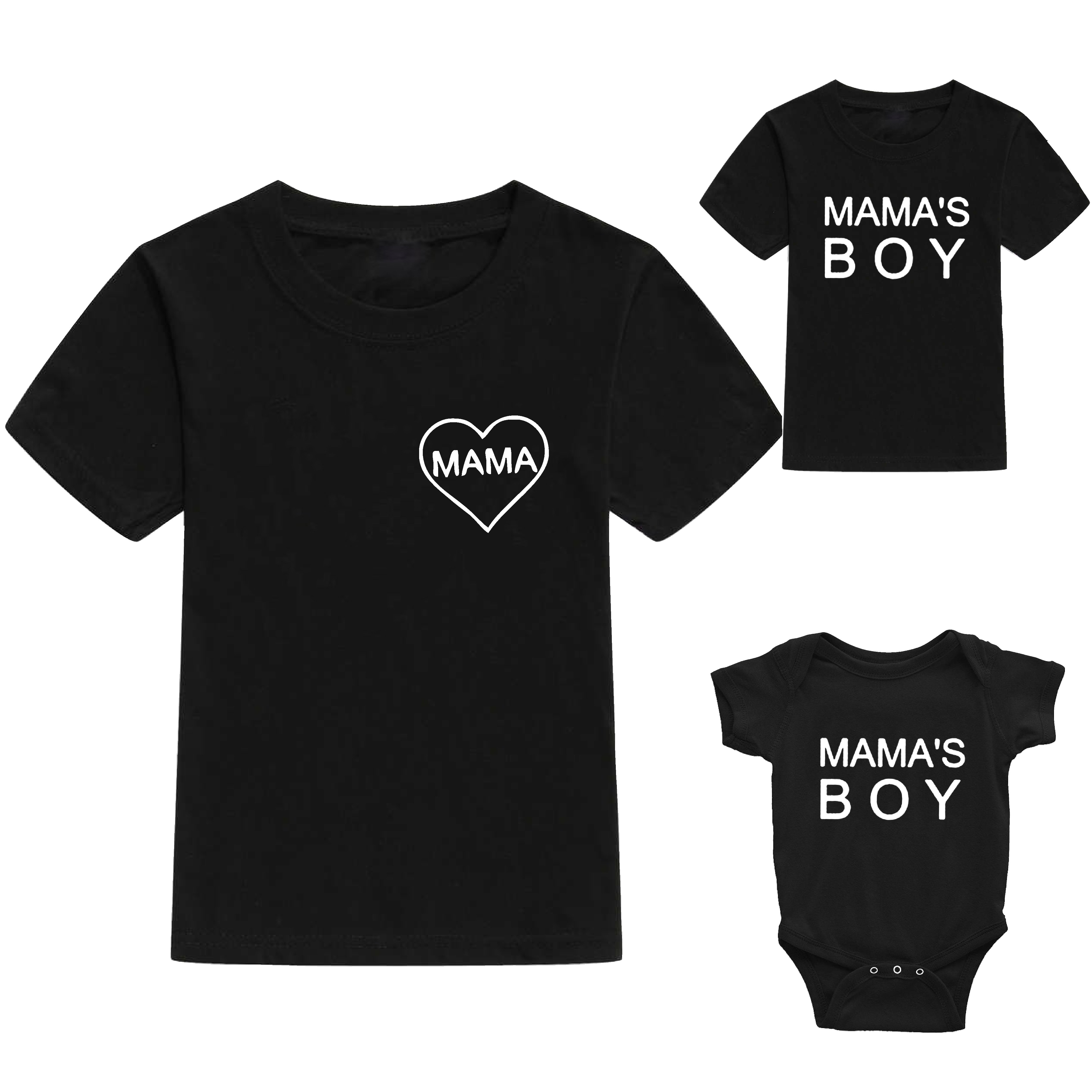 Mom and Son Matching Short Sleeve T-shirt Mommy and Me Family Clothes Baby Romper Kids T Shirts Tee