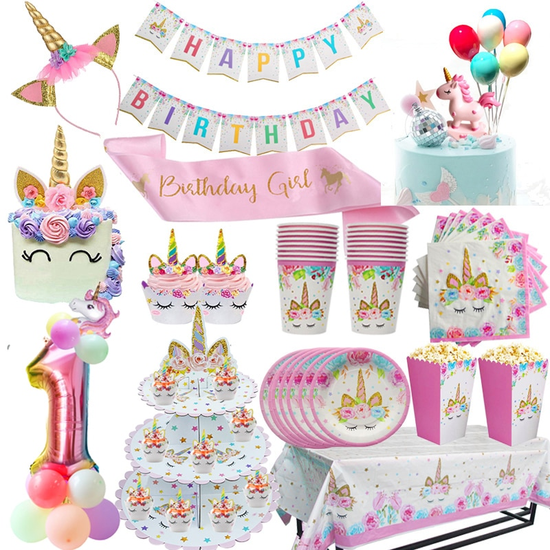Unicorn Party 3-tier Cup Cake Stand Paper Plates Cups Balloon Birthday Party Decoration Kids Unicornio Party Girls Baby Shower