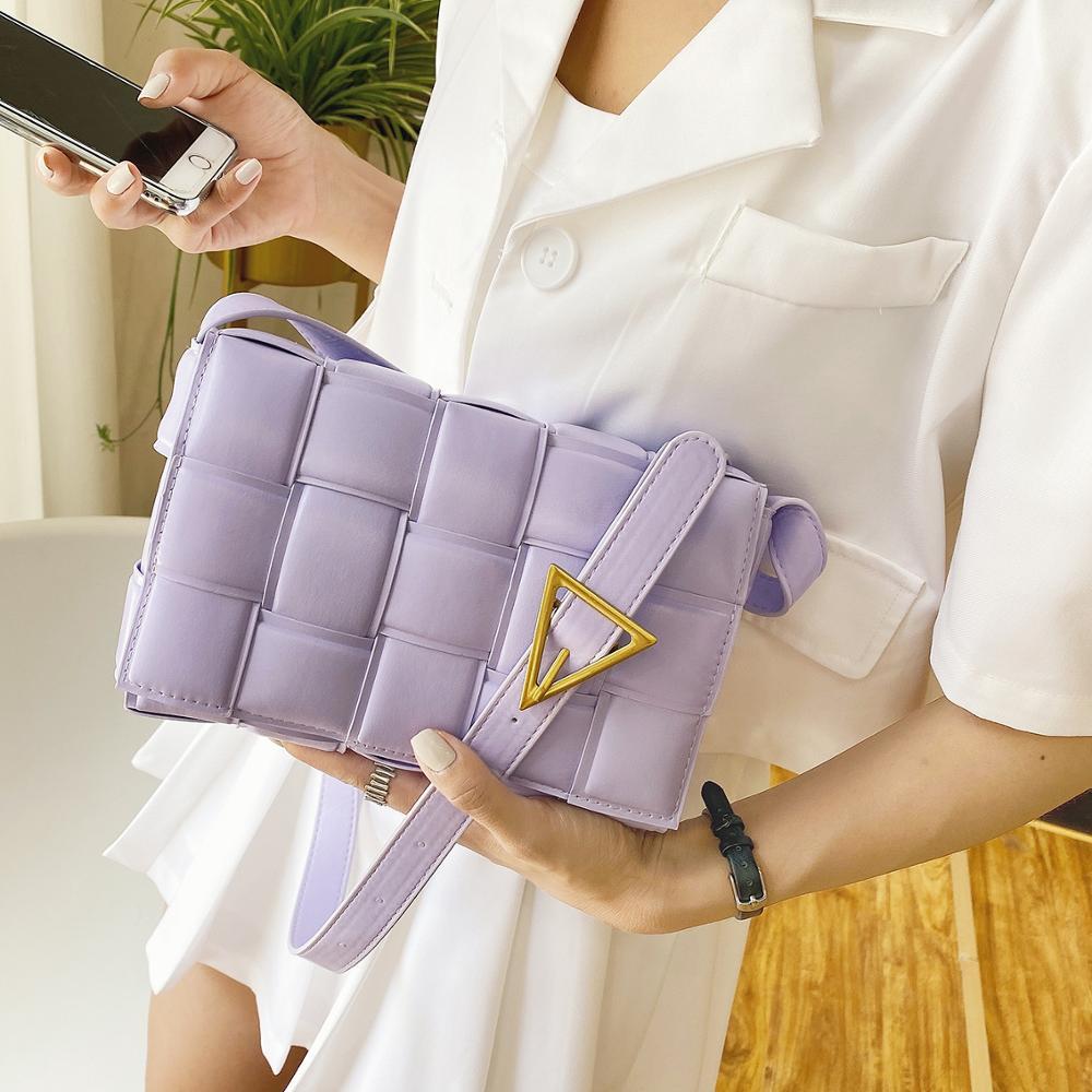 Luxury Branded Designer Baguette Bag Women 2020 Stylish Weave Fake Leather Crossbody Bag Hand Bag Shoulder Handbag Small Woven