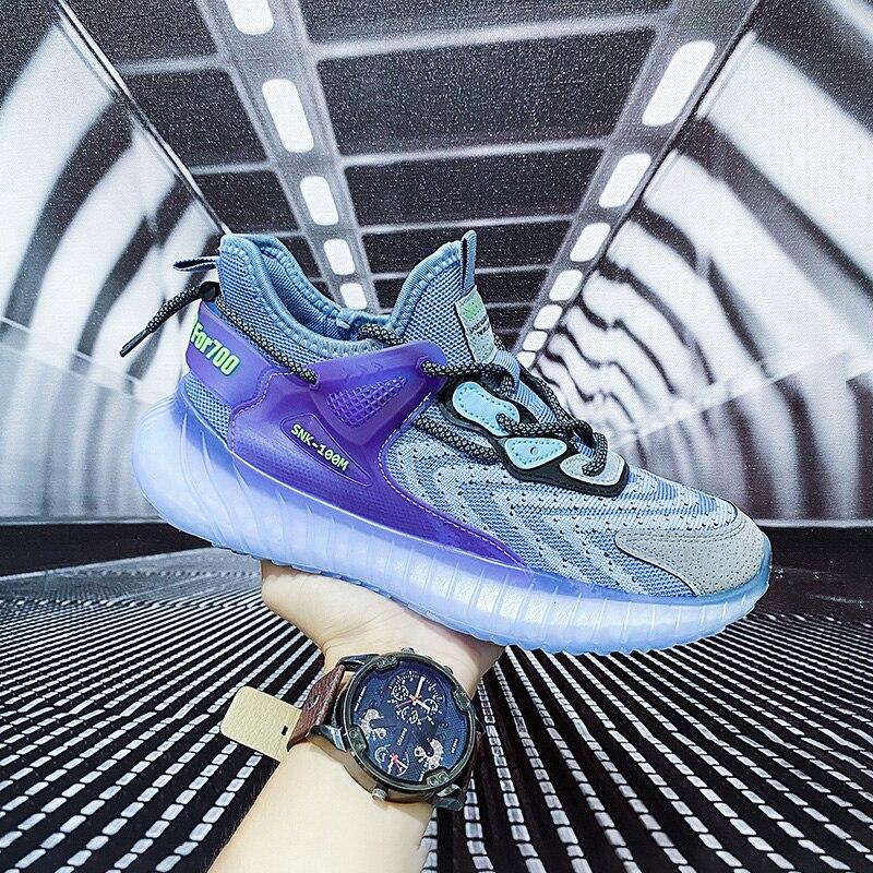 2021 hot البيع موضة تحلق المنسوجة الرجال سميكة في الهواء الطلق أحذية رياضية الرجال امتصاص الصدمات عدم الانزلاق أحذية حذاء رجالي كاجوال
