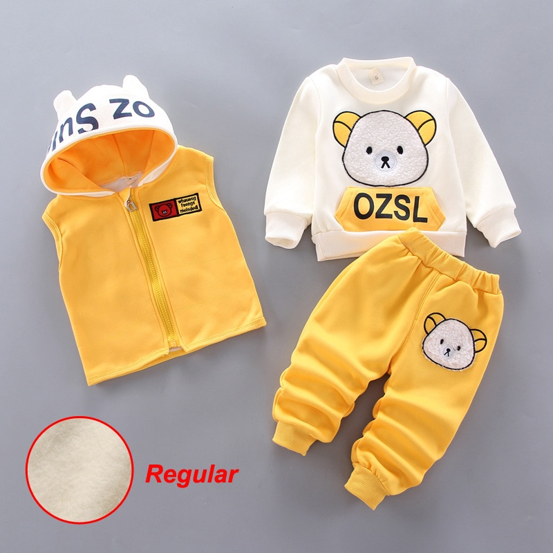 New Autumn Cute Cartoon Children's Winter Suit Thicken Kids Clothes Girls 3Pcs Sets Cotton Baby Boy Tracksuit